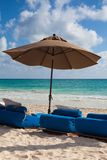 Luxury blue beach chairs on the beach,Mexico Stock Image