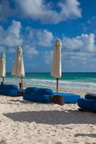 Luxury blue beach chairs on the beach,Mexico Royalty Free Stock Images
