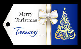 Luxury blue Christmas name tag with golden ornamen Royalty Free Stock Photo