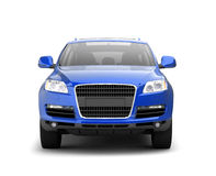 Luxury blue crossover front view Royalty Free Stock Image