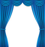 Luxury blue curtain on white background Royalty Free Stock Photography