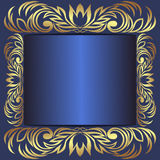 Luxury blue Frame decorated the royal  Borders. Is presented Stock Photography