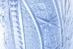 Luxury blue glass crystal pattern close-up Royalty Free Stock Image
