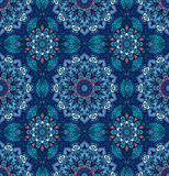 Luxury Blue Pattern Flower Boho. Blue pattern. Seamless flower background. Flourish vector. Intricate floral ornament. Dark color illustration. Decorative fabric Royalty Free Stock Images