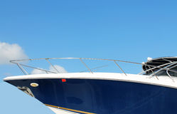 Luxury blue yacht. Luxury and modern blue yacht in florida stock photo