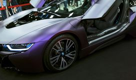 Luxury BMW i8 hybrid electric coupe. Plug-in hybrid sport car. Concept electric vehicle. Car exterior details. Stock Photography