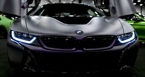 Luxury BMW i8 hybrid electric coupe. Plug-in hybrid sport car. Concept electric vehicle. Dark Matt colour. Car exterior details. Sankt-Petersburg, Russia, July royalty free stock photography
