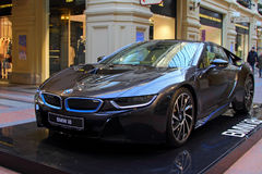 Luxury BMW i8 hybrid electric coupe Is on sale at the State Depa Royalty Free Stock Image