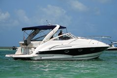 Luxury boat. Side view of luxurious motorboat on the Florida waterway Royalty Free Stock Image