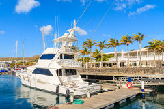 Luxury boat in Caribbean style Puerto Calero marina Royalty Free Stock Photo