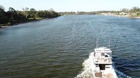 Boat luxury boat cruise on the gold coast hope island stock footage