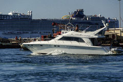 Luxury Boat and cruise ship in Port of Cannes Royalty Free Stock Photo