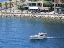 Luxury boat in Fontvieille port, Monaco. Royalty Free Stock Images