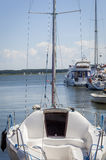 Luxury boat moored in the marina Stock Image