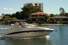 Luxury Boat. On the Nerang River stock images