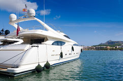 Luxury boat in tropical marina Royalty Free Stock Photos