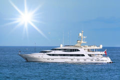 Luxury boat yacht. Offshore sailing on sunny summer day Royalty Free Stock Photography