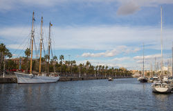 Luxury boats at Barcelona sports port Royalty Free Stock Image