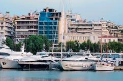 Luxury boats. Marina of Greece in central city Piraeus Stock Photo