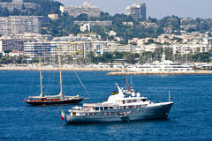 Luxury Boats off Cannes Coast Stock Images