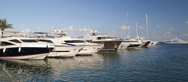Luxury boats and yachts. In Mallorca (Majorca), Portals Nous Royalty Free Stock Images
