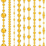 Luxury borders with yellow diamonds. Luxury brilliant design with golden bright crystals. Vector illustration Stock Illustration