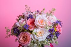 Luxury bouquet made of red roses in flower shop Valentines Bouquet of pastell roses. Luxury bouquet made of pink white red roses in flower shop Valentines stock image