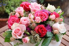 Luxury bouquet made of red roses in flower shop Valentines Bouquet of red roses stock photo