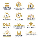 Luxury boutique calligraphy logo best selected collection hotel brand identity and crest heraldry stamp premium insignia. Design crown vector illustration Royalty Free Stock Photography