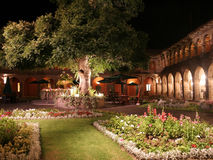 Luxury Boutique Hotel, Cusco, Peru. Garden Courtyard of a luxury boutique hotel at night, in Cusco City, South America Royalty Free Stock Photos