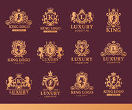 Luxury boutique Royal Crest high quality vintage product heraldry logo collection brand identity vector illustration. Stock Image