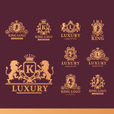 Luxury boutique Royal Crest high quality vintage product heraldry logo collection brand identity vector illustration. Decorative quality wreath line Stock Photography