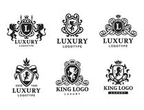 Luxury boutique Royal Crest high quality vintage product heraldry logo collection brand identity vector illustration. Decorative quality wreath line stock illustration