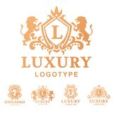 Luxury boutique Royal Crest high quality vintage product heraldry logo collection brand identity vector illustration. Stock Photos