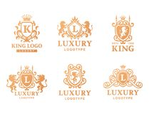 Luxury boutique Royal Crest high quality vintage product heraldry logo collection brand identity vector illustration. Royalty Free Stock Images