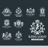Luxury boutique Royal Crest high quality vintage product heraldry logo collection brand identity vector illustration. Decorative quality wreath line Royalty Free Stock Image