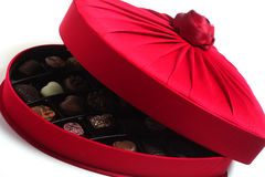 Luxury box of chocolates. A heart-shaped box full of luxury chocolates Royalty Free Stock Photos