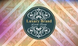 Luxury brand card with luxurious ornament Vector. Abstract background design illustration. Place for texts Royalty Free Stock Images