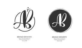 Luxury brand identity. Calligraphy AB letters - sophisticated logo design. Stock Photos