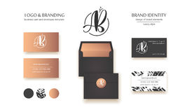 Luxury brand identity. Calligraphy AB letters - sophisticated logo design. Couple business card designs included.  Royalty Free Stock Image