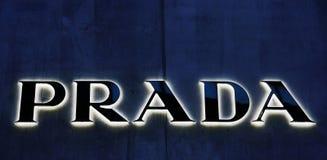 Luxury brand logo. Sign Prada luxury fashion boutique in New York City, Photo taken on: Dec 12th, 2010 Royalty Free Stock Photography