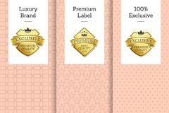 Luxury Brand Premium Label 100 Exclusive Emblem. Vector posters set on pink backdrop, guarantee assurance seal of best product, vip membership sign Royalty Free Stock Photos