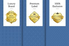 Luxury Brand Premium Label Exclusive Set Leaflets. Luxury brand premium label 100 exclusive set of leaflets, best choice for years exclusive premium quality Stock Image