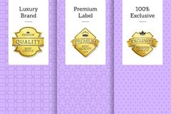 Luxury Brand Premium Label Exclusive Set Posters. Luxury brand premium label 100 exclusive set of posters with golden labels isolated on posters template with Royalty Free Stock Photos