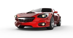 Luxury brandless red sport car at white background Stock Photos