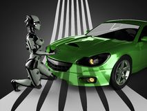 Luxury brandless sport car and woman robot Royalty Free Stock Photos