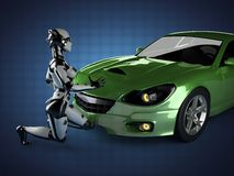 Luxury brandless sport car and woman robot Stock Images