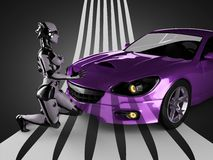 Luxury brandless sport car and woman robot Royalty Free Stock Images