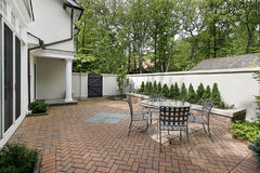 Luxury brick patio. Brick patio in luxury home in courtyard Stock Photo