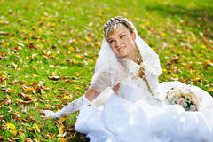 Luxury bride on the grass Stock Photography